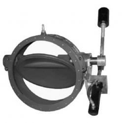 Дисковий зворотній кланап з противагою або амортизатором